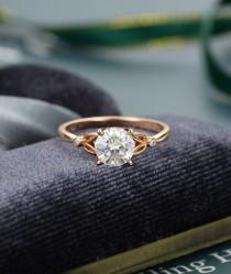 wedding photo - Moissanite engagement ring Rose gold Unique vintage engagement ring Brilliant Diamond ring antique Bridal ring Anniversary ring