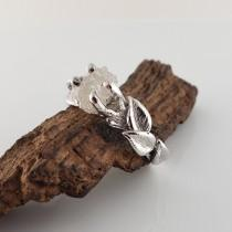 wedding photo - Sterling Silver Six Leaf Rough Diamond Twig Solitaire Engagement Ring, Promise Ring by Dawn Vertrees