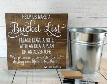 wedding photo - Personalized Wooden Sign ~ Wedding Bucket List Activity~ Sign Only
