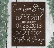 wedding photo - Our Love Story Sign, Special Date Sign, Special Dates Sign, Wedding Date Sign, Wedding Gift, Bridal Shower Gift