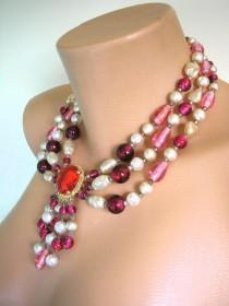 wedding photo - Vintage Cameo Pearl Necklace, Intaglio Cameo, Cameo Jewelry, 3 Strand Foiled Beads, Pearl And Glass Bead Necklace, Cranberry Glass Beads