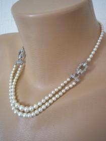wedding photo - Art Deco Pearl Necklace, Dainty Pearl Necklace, Downton Abbey Jewellery, Antique Pearls, Great Gatsby Pearls, Ivory Pearls, Pearl Choker