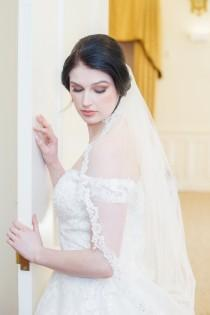 wedding photo - Lace Edge Veil, One Tier Lace Edge Wedding Veil, Single Tier Lace Edge Bridal Veil, Lace Edge, 1 Tier Veil, Ivory Wedding Veil