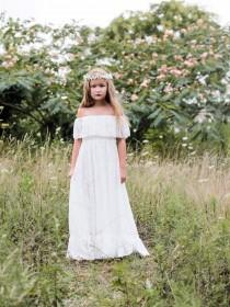 wedding photo - Vivian - white, lace, Flower Girl Dress, bapstism, communion dress, girls toddler dress