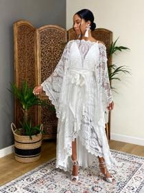 wedding photo - Wedding dress,boho wedding dress, 2 piece wedding dresses,lace wedding dress, caftan wedding dress, wedding separates, style GISELLE