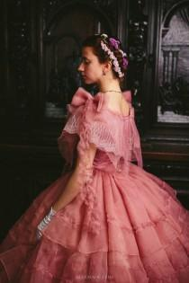 wedding photo - Civil War Rose Dress, 1860s Ball Gown