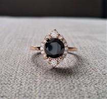 "wedding photo - Black Moissanite Diamond Engagement Ring Halo Bohemian Art Deco Indian Vintage Antique 14K Rose Gold Exclusive ""The Jasmine"""