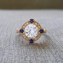 "wedding photo - Estate Halo White Sapphire Diamond Antique Engagement Ring Victorian Art Deco Edwardian 14K Yellow Gold ""The Charlotte"""