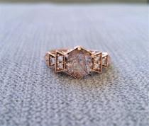 "wedding photo - Antique Diamond Bronze Rutilated Quartz Engagement Ring Rose Gold 1920s Red Copper Gemstone Rustic Bohemian PenelliBelle ""The Florence"""