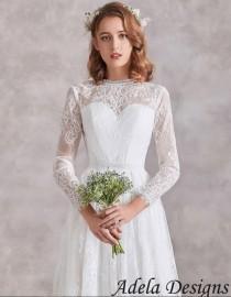 wedding photo - Long Sleeves Lace Boho Wedding Dress Bridal Gown