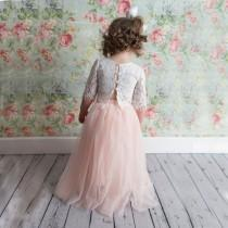 wedding photo - Blush Pink Tulle Two Piece Skirt, Romantic White Lace Flower Girl Dress, Boho Beach Wedding, Crochet Dress