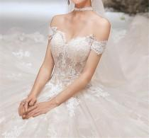 wedding photo - 2020 Champagne Wedding Dress Lace Wedding Dress off the Shoulder Bridal Dress Cathedral Wedding Dress Illusion A Line Beach Wedding Dress