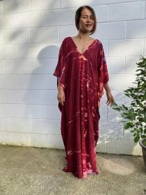 wedding photo - N. Red Wine tie dyed - One of a kind Hand Dyed Kaftan - Rayon Fabric
