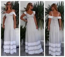 wedding photo - Gray Summer Maxi Dress, Ruffled Dress, Romantic Boho Dress, Bridesmaid Maxi Dress, Urban Romantic Maxi  Dress, All sizes dress