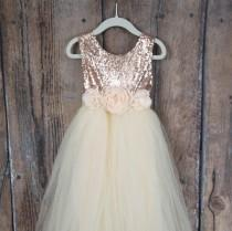 wedding photo - Romantic Tulle Flower Girl Dress, Boho Chic Dresses, Ivory Ball Gown, Rose Gold Sequin Dress