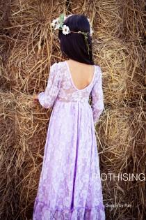 wedding photo - Purple Long Sleeves Flower Gril Dress, Laveder lace Girl Dress ,Baby dresses