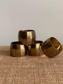 wedding photo - Set of 4 Vintage Brass Napkin Rings