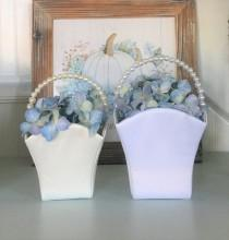 wedding photo - Flower Girl Basket DIY Medium   White Satin or Ivory Satin Make your own basket Wedding Supplies White or Ivory