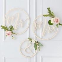 wedding photo - Wooden Hoop Wreath Mr & Mrs, Mr and Mrs Signs, Wooden Wedding Decorations, Rustic Wedding Decor, Wedding Decoration Hoops, Chair Signs