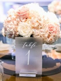 wedding photo - Frosted Acrylic Table Numbers with Stand