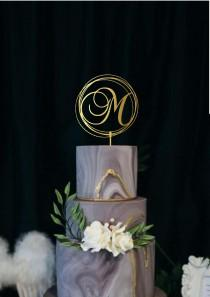 wedding photo - Wedding Monogram Cake Topper Custom Letter Initial Modern Geometric Wedding Cake Topper Personalized Name Cake Topper