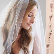 wedding photo - Beaded Bridal Veil, Pearl Wedding Veil, Ivory Bridal Veil, Tulle Veil, Veil for Bride, Fingertip Length Veil, Wedding Veil, Bride ~ VB-5081