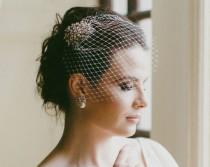 wedding photo - Antique Style Hair Clip with Birdcage Veil, Bianca