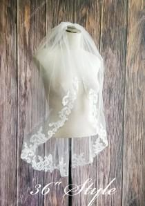 wedding photo - Fast Ship - Baroque Lace Fingertip Length Veil with Rolled Edge - Lace Edge Veil, Baroque Lace Veils - Swirl Lace Veil