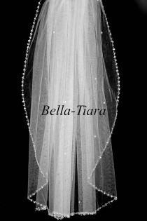 wedding photo - crystal communion viel, pearl edge communion veil, crystal communion veil, beaded communion veil, first communion veil