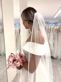 wedding photo - Satin Ribbon Bridal Veil, Wedding Veil, Satin Veil, White Ivory Veil, Cathedral Long Veil, Classic Elegant Veil