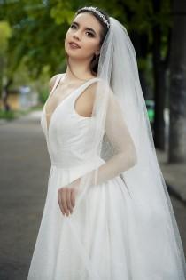 wedding photo - Glitter wedding veil, Sparkle tulle bridal veil, Cathedral shimmer wedding veil, 108 inches width wedding veil, long sparkling veil