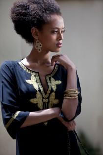 wedding photo - Boho Short Black and Gold Caftan, Black Moroccan Caftan, Gold Embroidery, Moroccan Kaftan Dress, Tunic Dress, Hippie Ethnic Woman's Dress