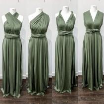 wedding photo - Multiway Infinity Bridesmaid Dress for Weddings- Olive Green Multiway Bridesmaid Dress for Weddings