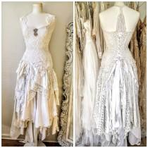 wedding photo - Wedding dress fairy goddess,ethereal bridal gown,bridal gown gold and cream,boho wedding tattered dress,farm wedding,bohemian wedding dress