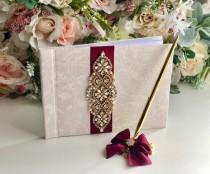 wedding photo - Gold Guest Book and Pen, Burgundy Guest Book, Wedding Sign in Book