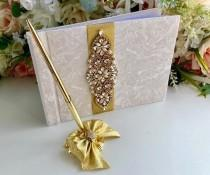 wedding photo - Gold Guest Book with Pen, Wedding Guest Book