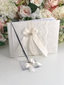 wedding photo - Wedding Guest Book with Pen, Off White Guest Books