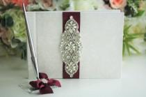 wedding photo - Burgundy Guest Book and Pen