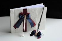 wedding photo - Navy Guest Book with Pen, Wedding Guest Book, Wedding Album