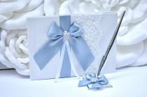 wedding photo - Wedding Guest Book with Pen, Steel Blue Wedding Guestbook