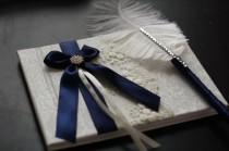 wedding photo - Navy Blue Wedding Guest Book and Pen