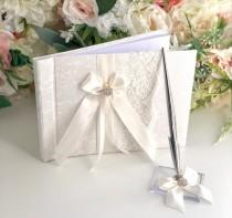 wedding photo - Off-White Guest Book with Pen, Wedding Guest Book