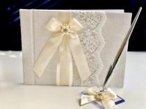 wedding photo - Ivory Guest Book with Pen, Ivory Wedding Guest Book