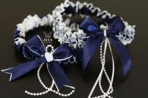 wedding photo - Navy Blue Wedding Garter Set, Navy Bridal Garters