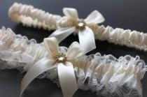 wedding photo - Ivory Bridal Garter Set, Ivory Wedding Garters
