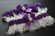 wedding photo - Purple Bridal Garter Set, Lace Wedding Garter Set