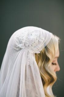 wedding photo - Juliet Cap Veil-Eyelash Fringe Lace-1920s Headpiece-English Net Veil-Gatsby Headpiece-Halo Crown-Bohemian Crown-Boho Veil-Veiled Beauty 1519