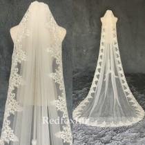 wedding photo - Bridal Veil,Veil,Wedding Veil,Lace veil,Cathedral Veil,1Tier veil,Ivory Veil,Veil Comb,Bridal gifts,Long veil,bachelorette veil,White Veil