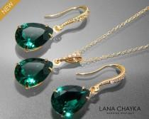 wedding photo - Emerald Green Crystal Jewelry Set Emerald Gold Earrings&Necklace Set Swarovski Emerald Rhinestone Jewelry Set Wedding Green Jewelry Sets