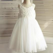 wedding photo - Ivory lace and tulle flower girl dress with large ivory satin bow at back